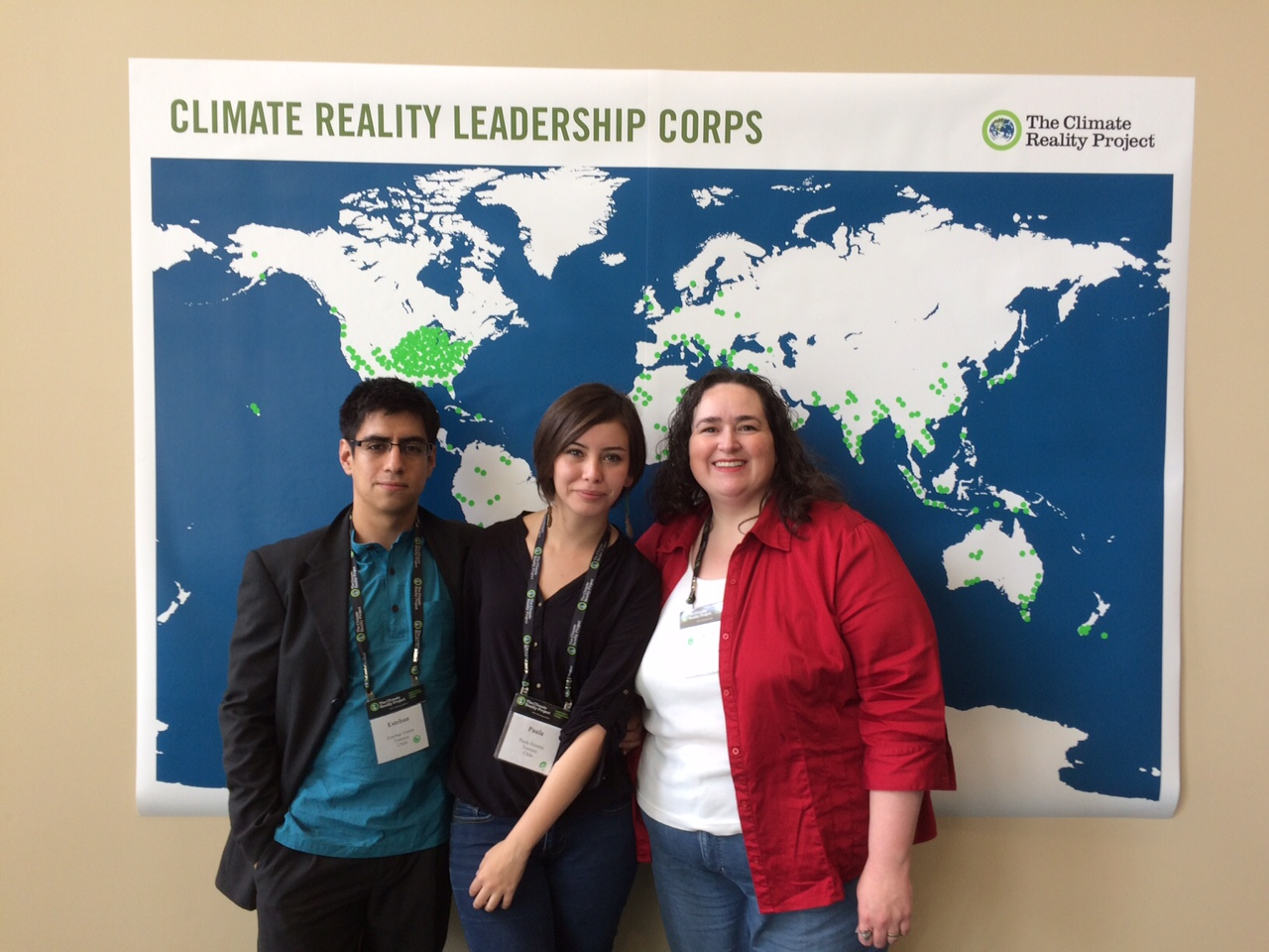 Fellows Esteban, Paula and Carrie attended Climate Reality's Leadership Training in Cedar Rapids, Iowa
